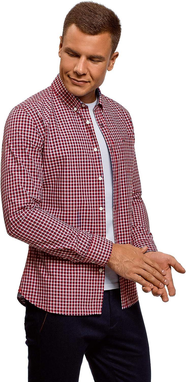 oodji Ultra Hombre Camisa a Cuadros con Bolsillo en el Pecho