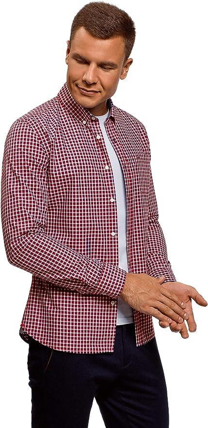oodji Ultra Hombre Camisa a Cuadros con Bolsillo en el Pecho, Rojo, сm 44 / ES 56 / XL: Amazon.es: Ropa y accesorios