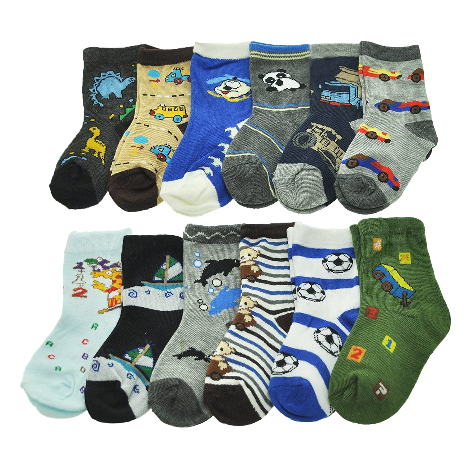 Angelina Boys Kids 12-Pack Assorted Designs Crew Socks