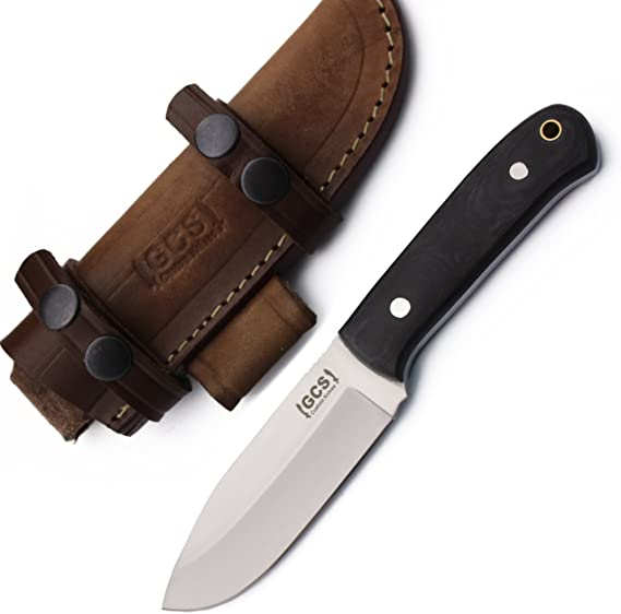 GCS Custom Handmade Stainless Steel Micarta Handle Hunting Fixed Blade Knife with Sheath D2 Handmade Buffalo Hide Sheath Designed for Hunting Camping and Survival 161 Black