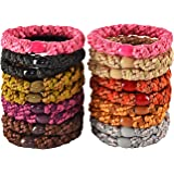 18 PCS Large Hair Ties Ponytail Holders for Thick Hair - Stretchy Elastic Hair Bands for Women and Girls - Multi-colors