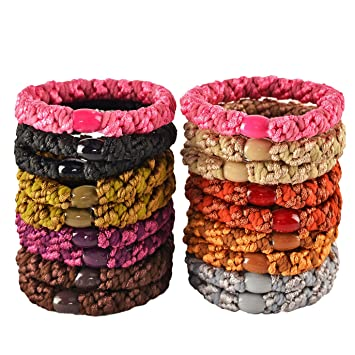 Amazon.com   HBY 18 PCS Large Hair Ties Ponytail Holders for Thick Hair -  Stretchy Elastic Hair Bands for Women and Girls - Multi-colors   Beauty bccb36a54fd