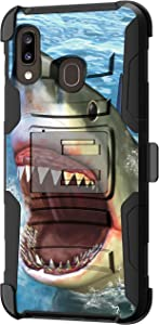 TurtleArmor | Compatible with Samsung Galaxy A20 Case | Galaxy A30 Case | Galaxy A50 Case [Hyper Shock] Hybrid Reinforced Dual Layer Case Belt Clip Holster Stand Sea Ocean - Shark Attack