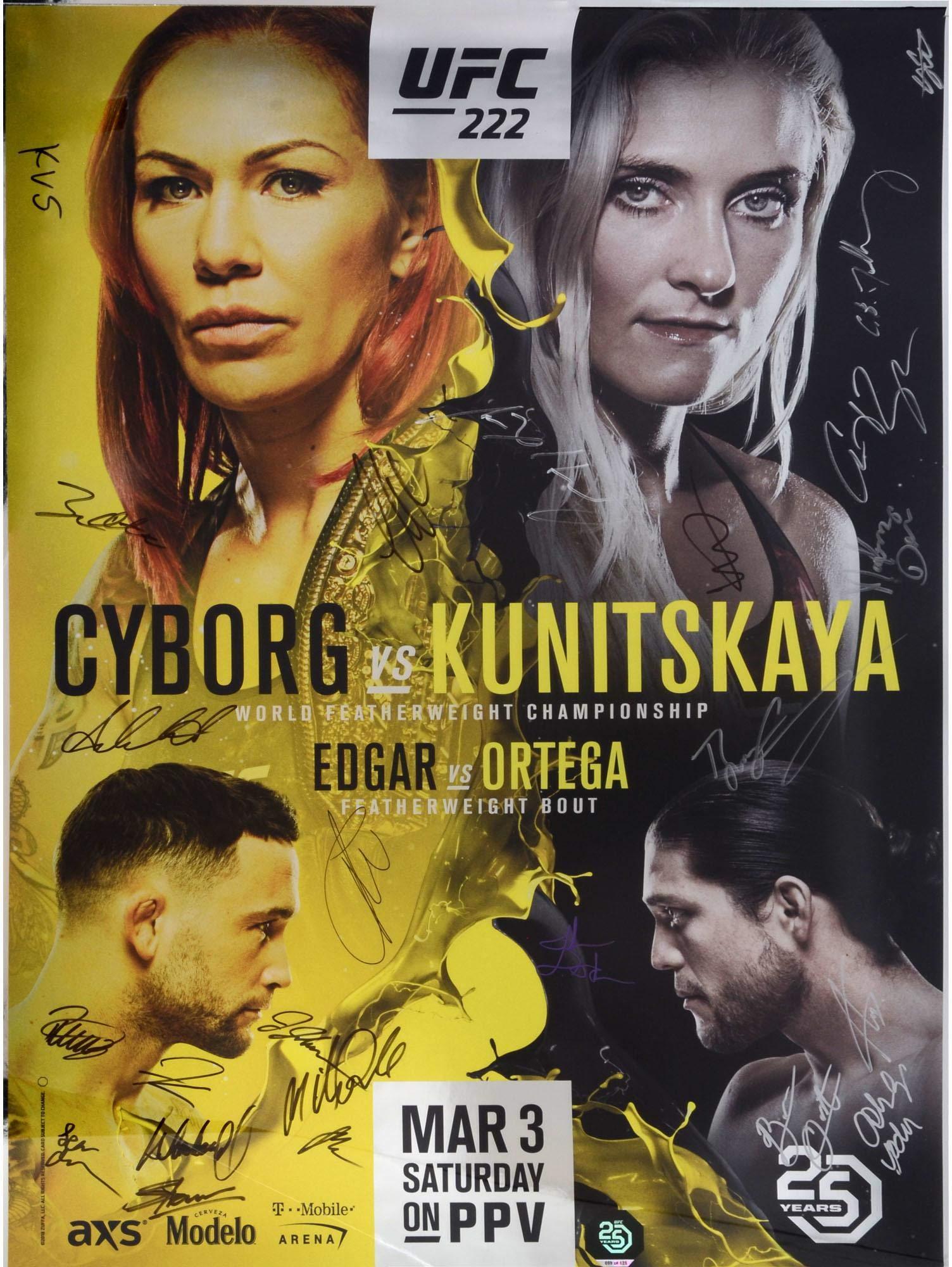"UFC 222 Cyborg vs. Kunitskaya Autographed 27"" x 39"" 24 Signature Fight Poster Fanatics Authentic Certified"