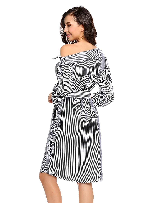 a511d2b6973 Zeagoo Women s Off Shoulder 3 4 Sleeve Asymmetric Collar Striped Casual  Shirt Dress at Amazon Women s Clothing store