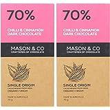 Mason & Co 70% Chilli & Cinnamon Dark Organic Artisanal Chocolate Bar - 70g (Pack Of 2)