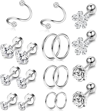 Hazms 10 Pairs Cartilage Earrings Set Helix Earring 16G Stainless Steel Tragus Piercing Jewelry Helix Flower Feather Hoop Cartilage Earrings CZ Stud for Women