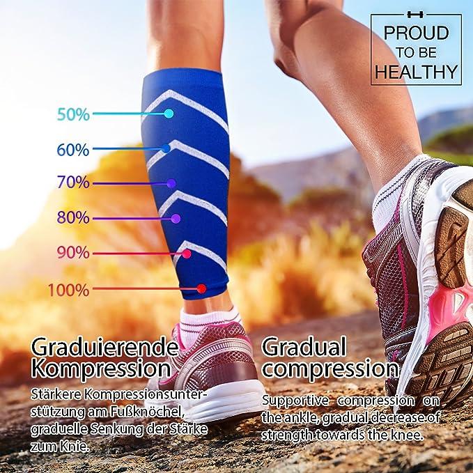 [Vendaje deportivo para la pantorrilla+] Promueve el rendimiento, la resistencia, la circulación sanguínea y la regeneración | Compresión de la pantorrilla ...