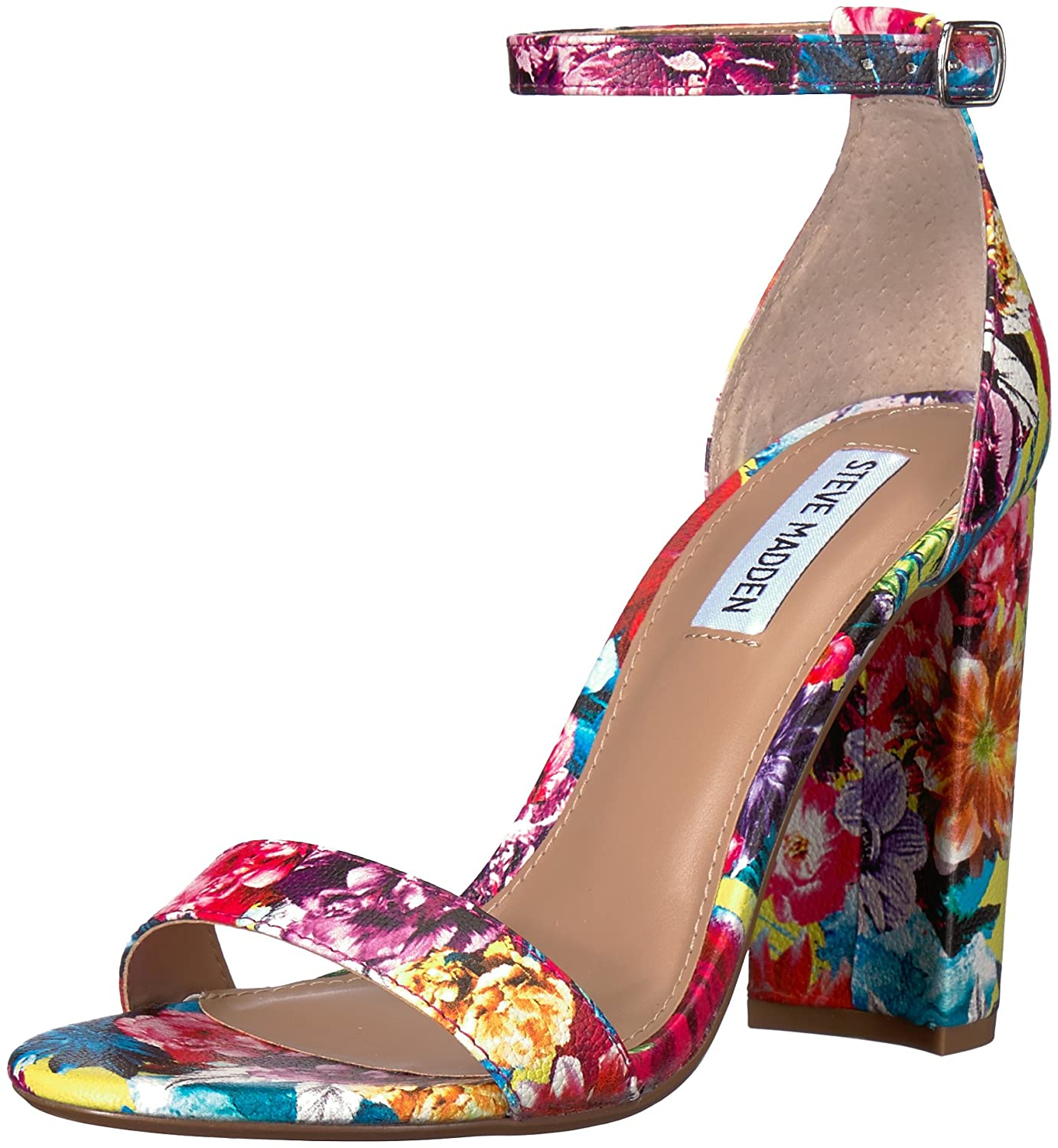 Steve Madden Womens Carrson Open Toe Special Occasion Suede Ankle Strap Sandals B078NMQRYD 10 B(M) US|Flower Multi Flower Multi 10 B(M) US