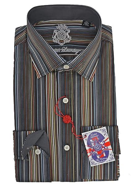 Amazon.com: Camisa de vestir con diseño de rayas inglesas ...