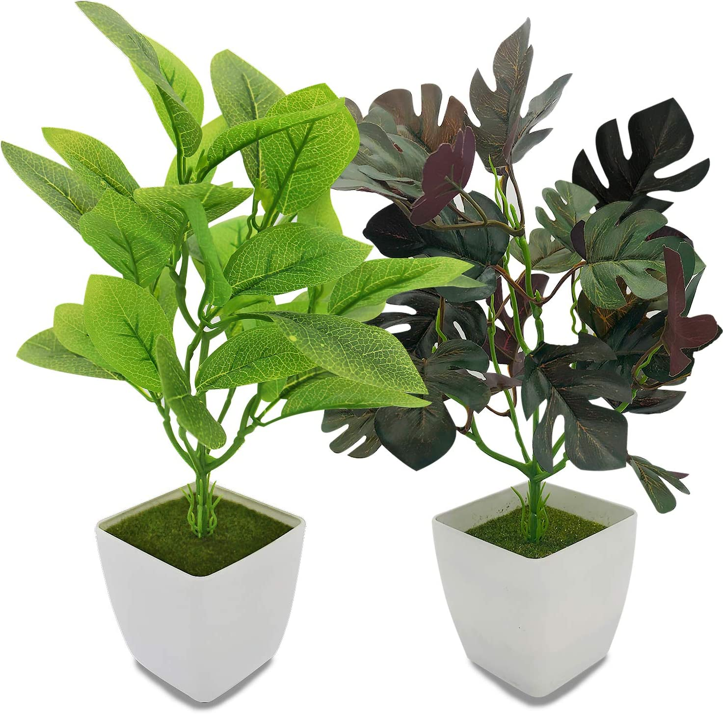 YOLETO 2 Pack Artificial Plants in Pots for Home Decor Indoor Aesthetic, Fall Décor Faux Fake Plant for Desk and Shelf in Bathroom / Bedroom / Living Room/ Farmhouse Christmas Decorations