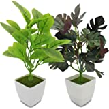 YOLETO 2 Pack Artificial Plants in Pots for Home Decor Indoor Aesthetic, Fall Décor Faux Fake Plant for Desk and Shelf…