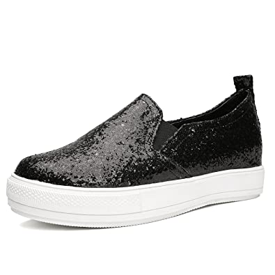 c121dfc78 Odema Women's Glitter Sparkly Sequin Platform Sneakers Slip On Shoes  Loafers Black