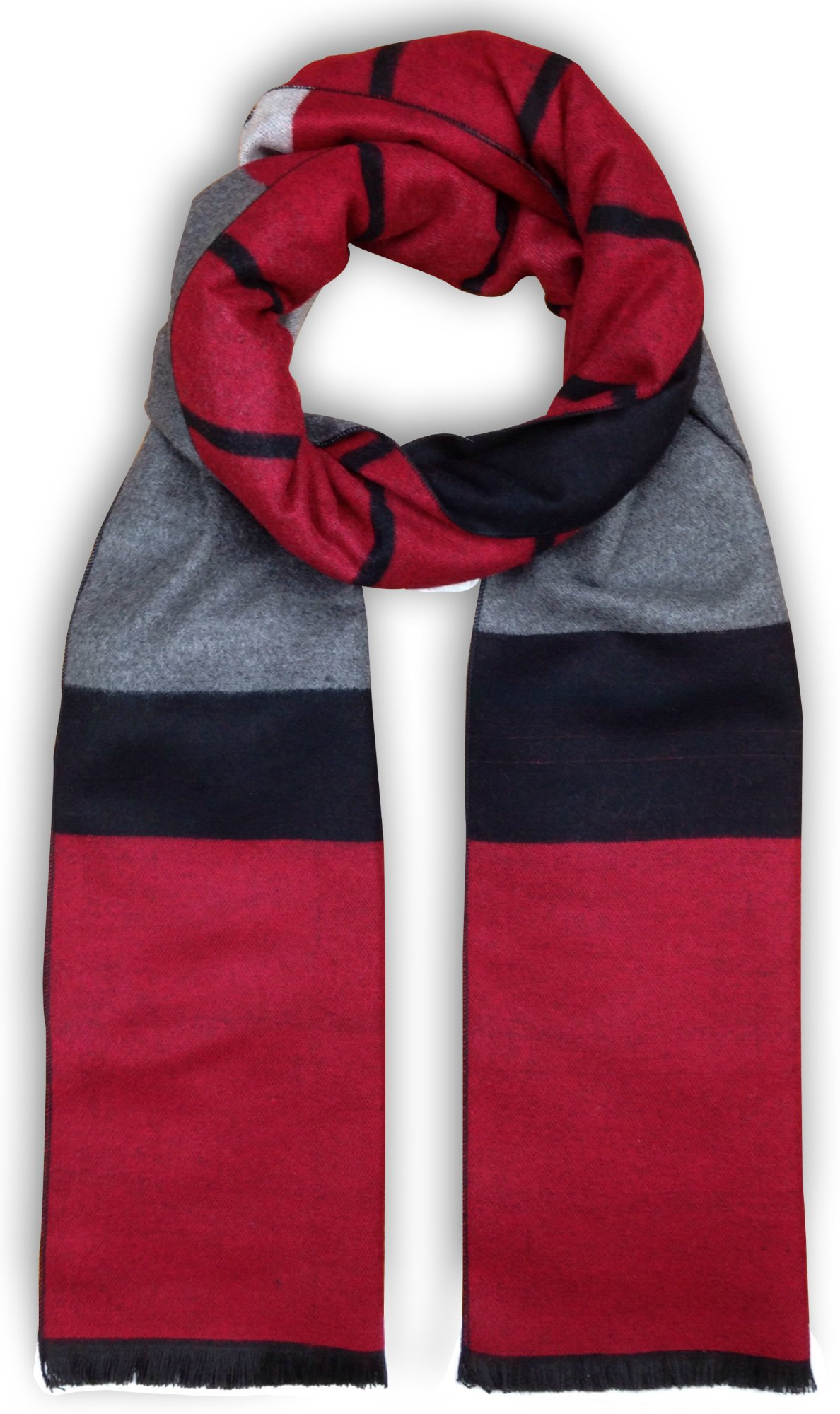 Bleu Nero Luxurious Winter Scarf for Men and Women – Large Selection of Unique Design Scarves – Super Soft Premium Cashmere Feel (Red/Black/Grey Two-sided Stripes)