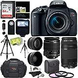 """Canon EOS REBEL T7i EF-S 18-55 IS STM Kit, EF 75-300mm III, Lexar 64GB, Polaroid Wide Angle, Telephone Lens, Polaroid 57"""" Tripod and Accessory Bundle"""