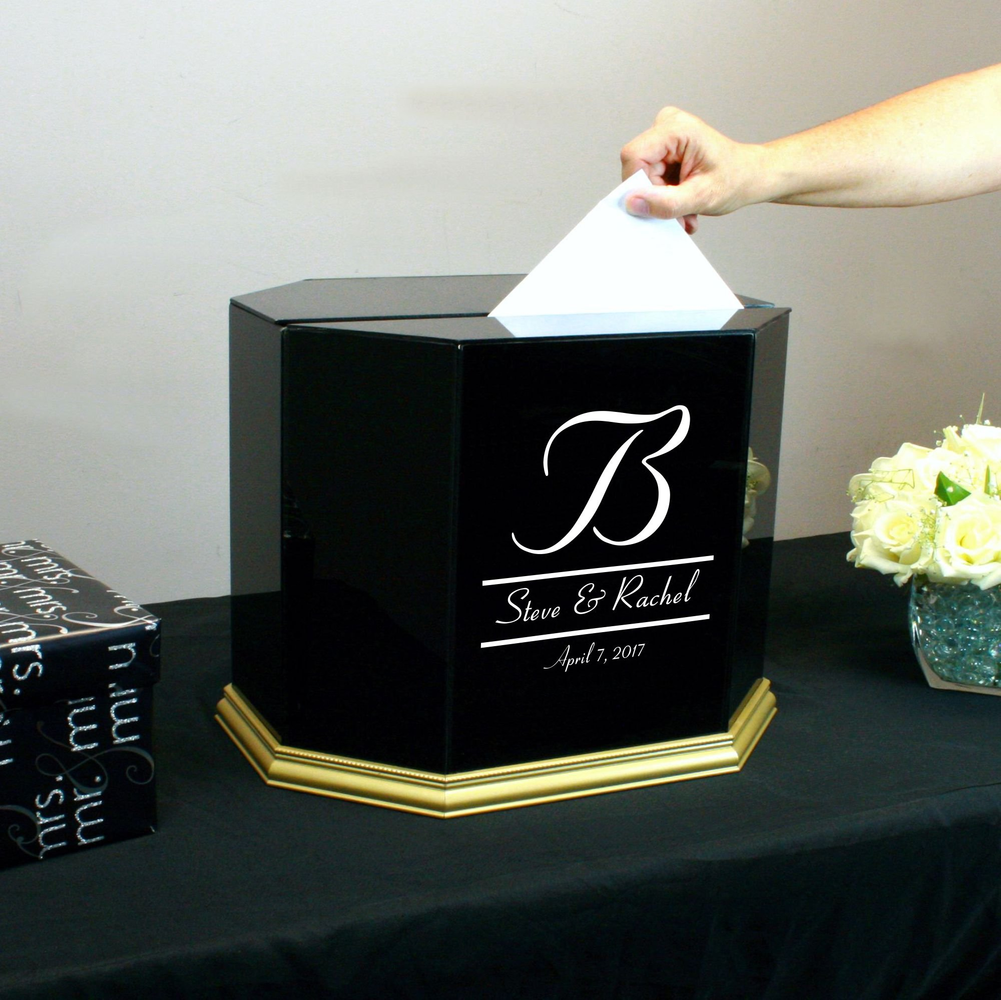 Personalized Wedding Card Box Black Glass with Gold Trim by Perfect Cases