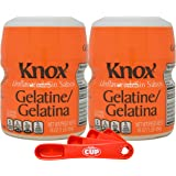 Knox Gelatine Unflavored Clear, Bulk 16 Ounce (Pack of 2) with By The Cup Measuring Spoons