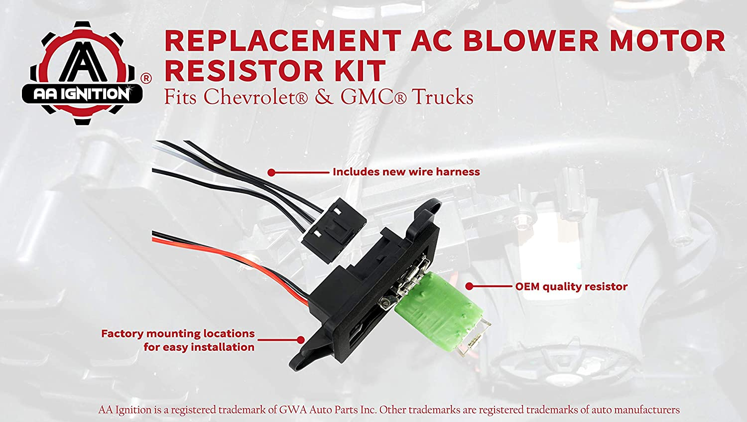 Ac Blower Motor Resistor Kit With Harness Replaces Replacing Wiring Loom 89019088 973 405 15 81086 22807123 Fits Chevy Silverado Tahoe Suburban Avalanche
