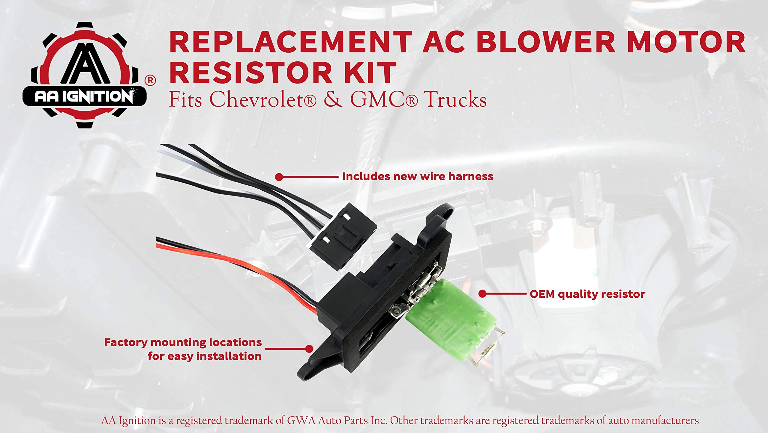 ac blower motor resistor kit with harness - replaces 89019088, 973-405,  15-81086, 22807123 fits chevy silverado, tahoe, suburban, avalanche, gmc  sierra,