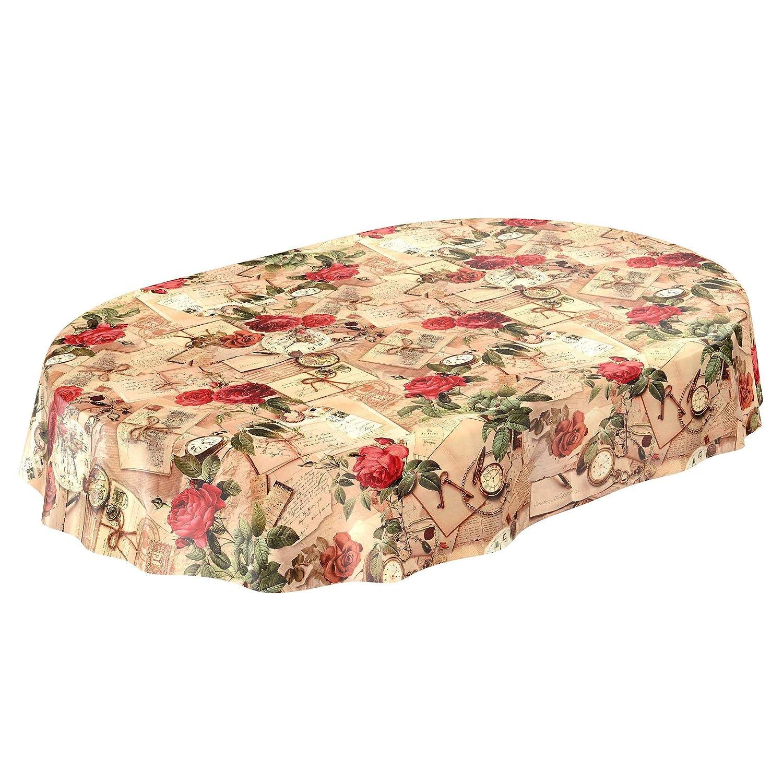 ANRO Toile cir/ée Nappe Nappe Toile cir/ée Lavable oldtime Roses dans Beige Rond 100/cm Toile cir/ée Rolle 20mx140cm Beige