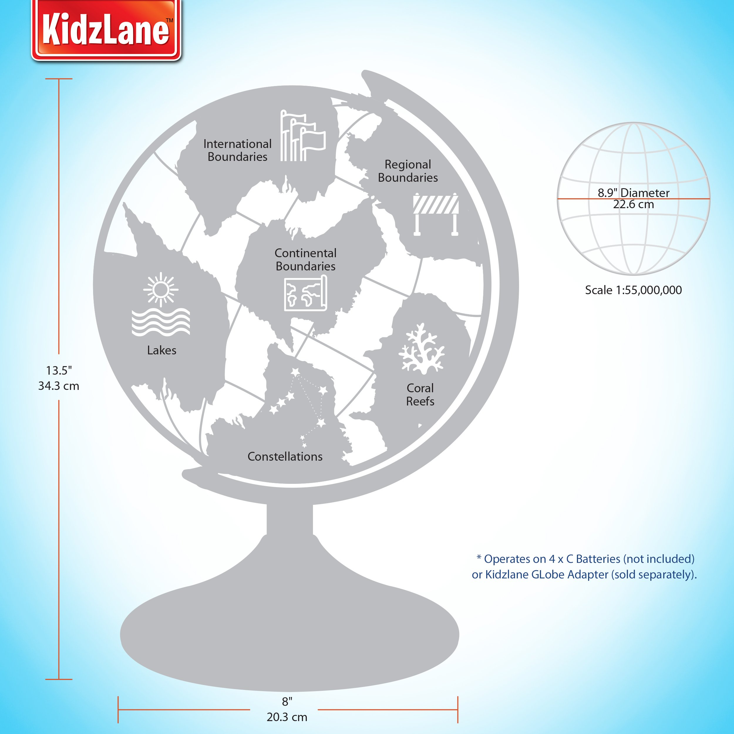 Interactive globe for kids 2 in 1 day view world globe and night interactive globe for kids 2 in 1 day view world globe and night view illuminated constellation map gumiabroncs Image collections