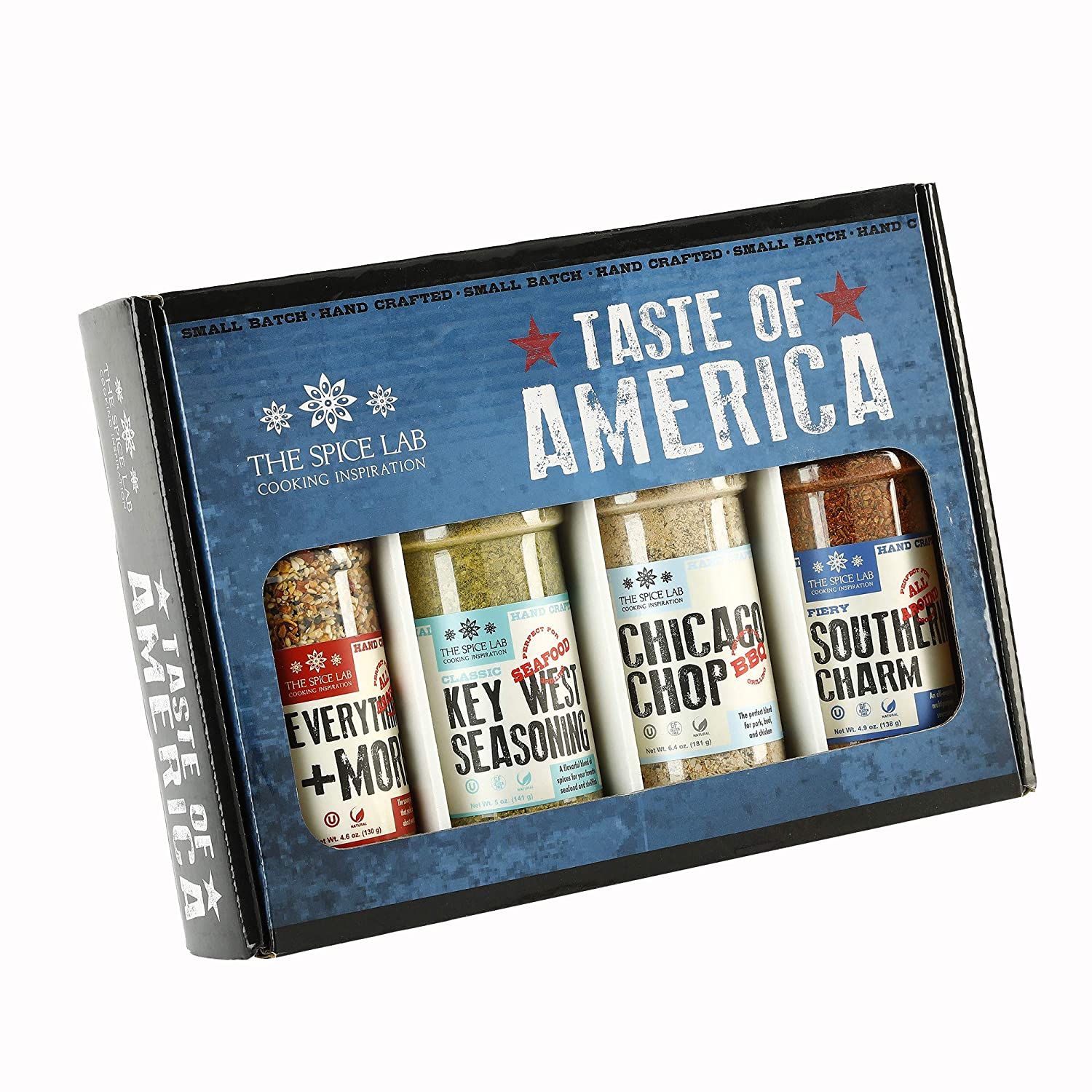 The Spice Lab Taste of America Spices and Seasonings Set - Ultimate Culinary Gift Set - Perfect Gift Kit for All Around Cooking and Air Fryers - Great Gifts for Men or Gift Baskets – Made in the USA