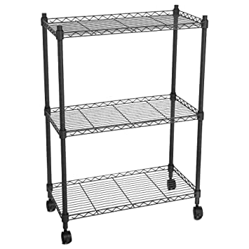Homdox 3 Tire Heavy Duty Shelves Storage Organizer Wire Shelving Unit  Rolling Cart Rack With