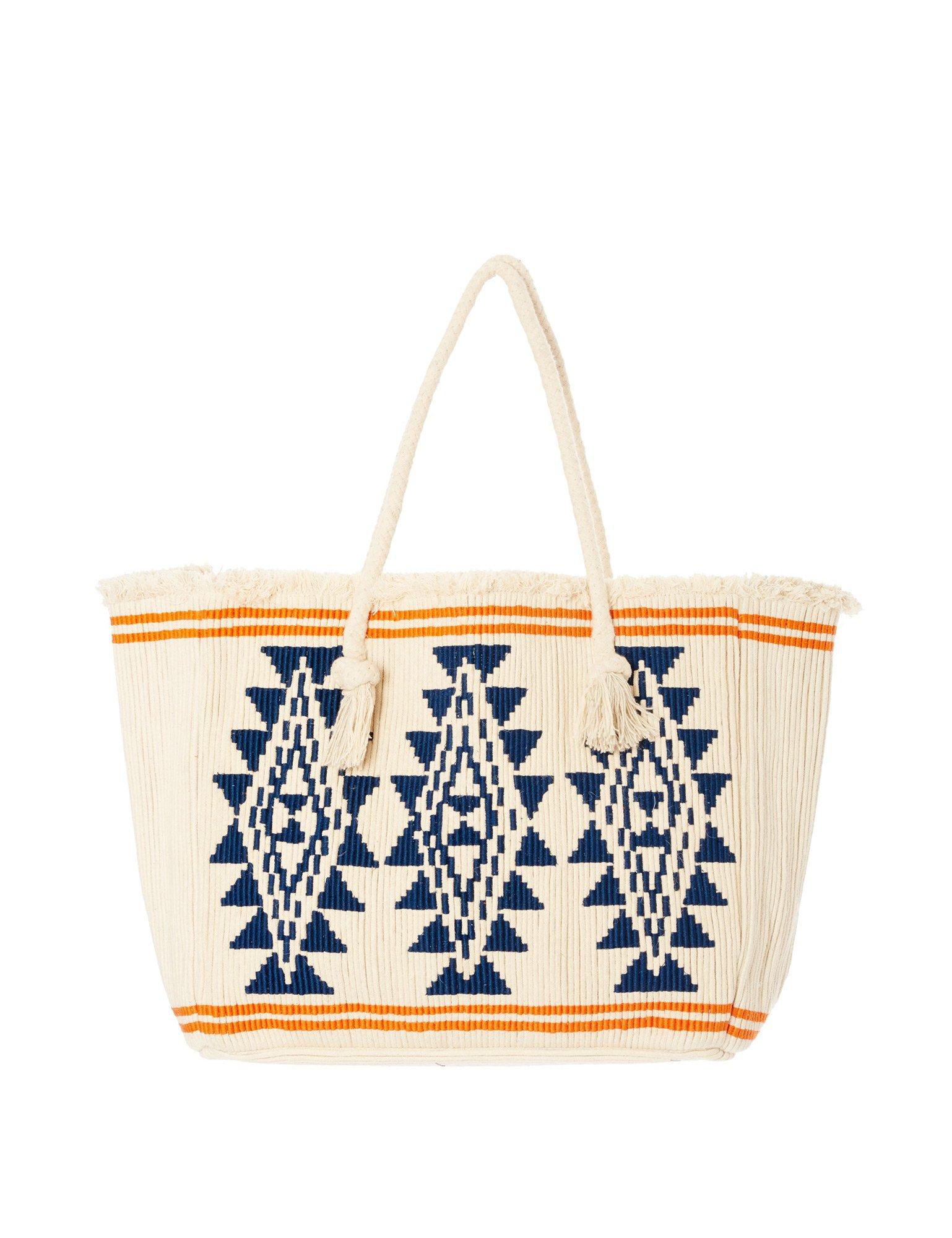 Star Mela Women's Io Women's Ivory-Navy Tote Beach Bag 100% Cotton