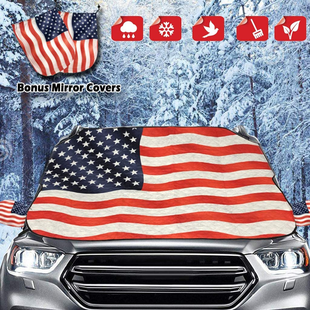 SUV Ice Defense No Scratches Van or Automobile Windshield Winter Cover Fits for Most Cars Black RT-TCZ Windshield Snow Ice Cover Sunshades for Windshield with Magnetic Edges Snow Truck