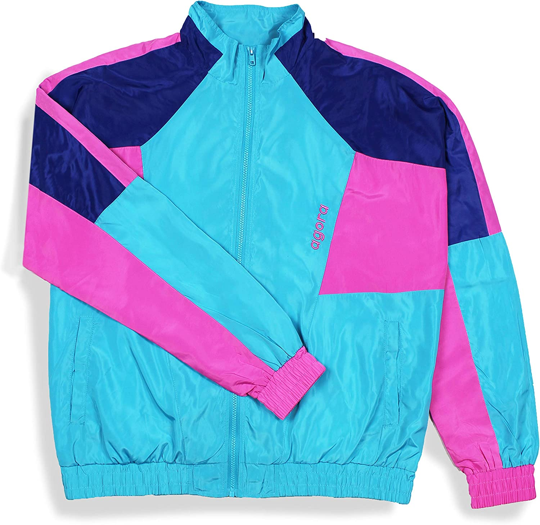 Vintage windbreaker jacket 1980/'s patchwork athletic grey white silver loud