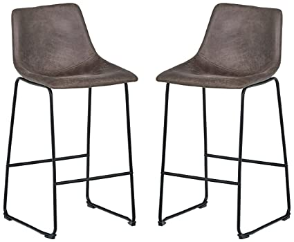 Wondrous Rivet Mid Century Modern Set Of 2 Microfiber Bar Kitchen Counter Bar Stools 40 9 Inch Height Grey Metal Pabps2019 Chair Design Images Pabps2019Com