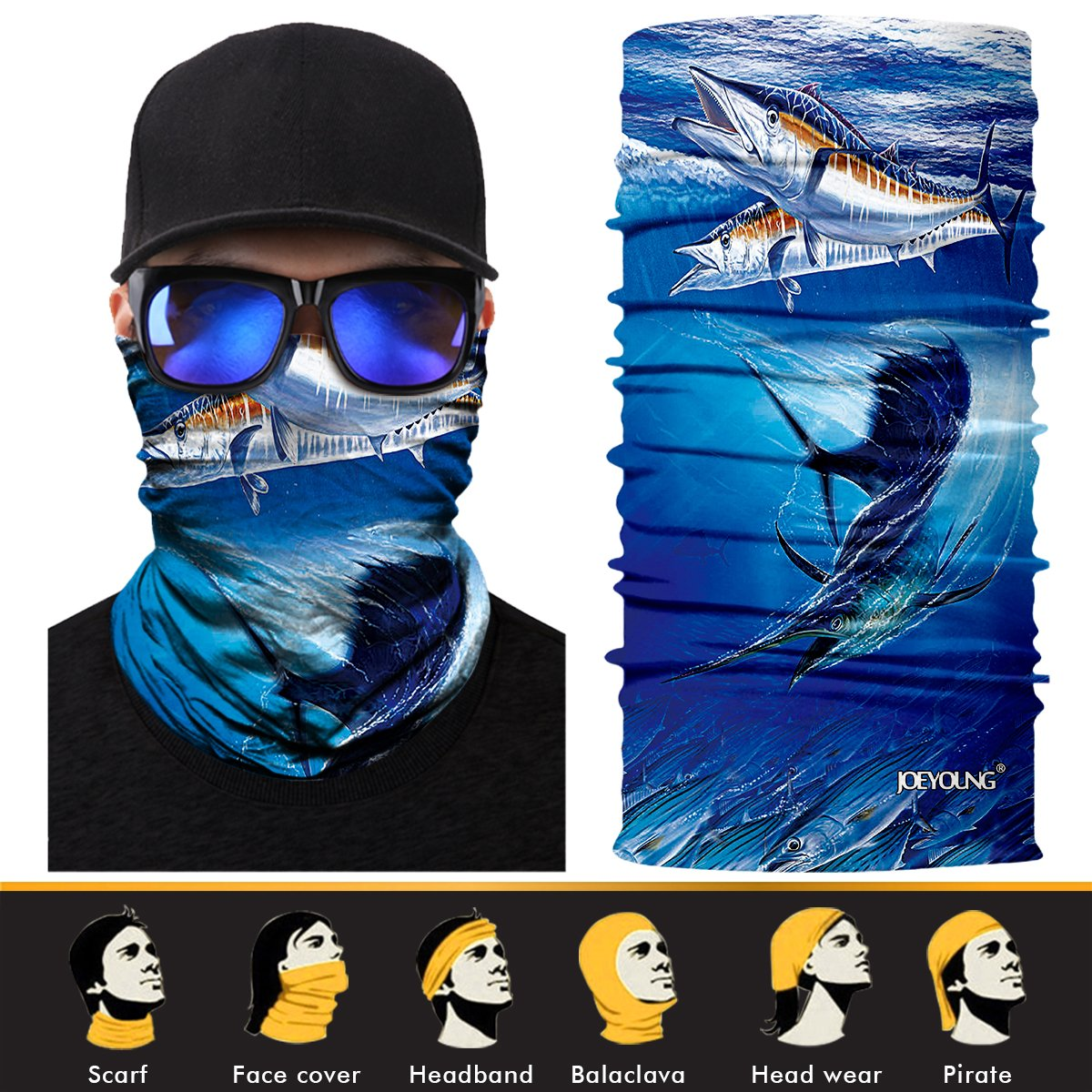 JOEYOUNG 3D Face Sun Mask, Neck Gaiter, Headwear, Magic Scarf, Balaclava, Bandana, Headband Fishing, Hunting, Yard Work, Running, Motorcycling, UV Protection, Great for Men & Women