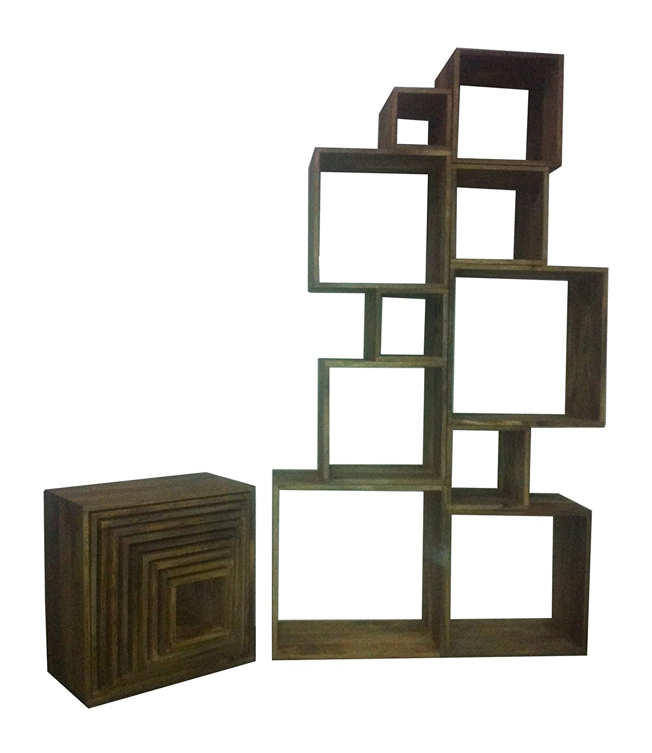 wooden cubes furniture. Reclaimed Wood Cube Bookshelves / Bookcases Made From Solid Recycled Wood, Available In Natural Rustic Finish.: Amazon.co.uk: Kitchen \u0026 Home Wooden Cubes Furniture