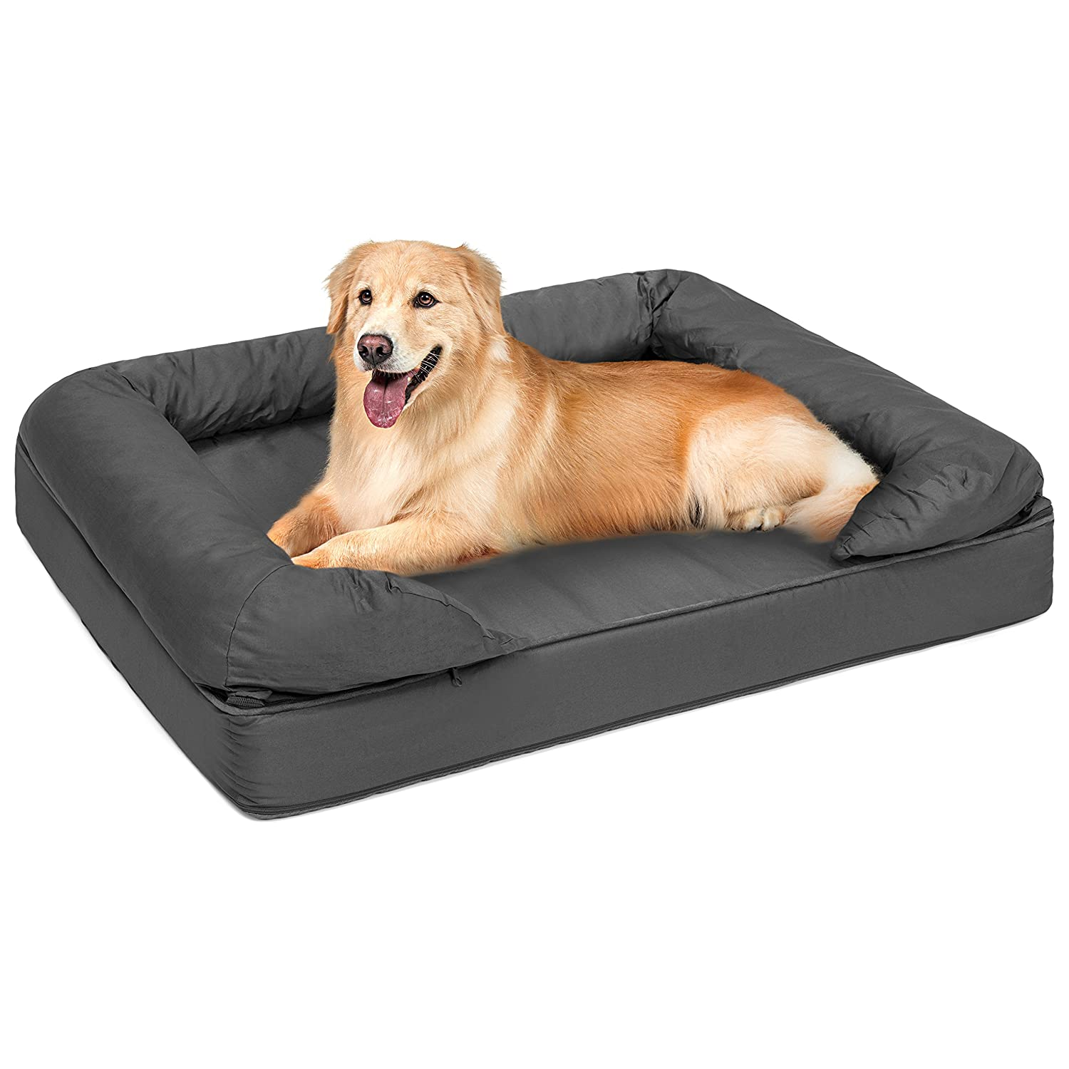 Best Choice Products Large Orthopedic Pet Sofa Bed Mattress w Comfortable Memory Foam for Dog, Cat, and Puppy