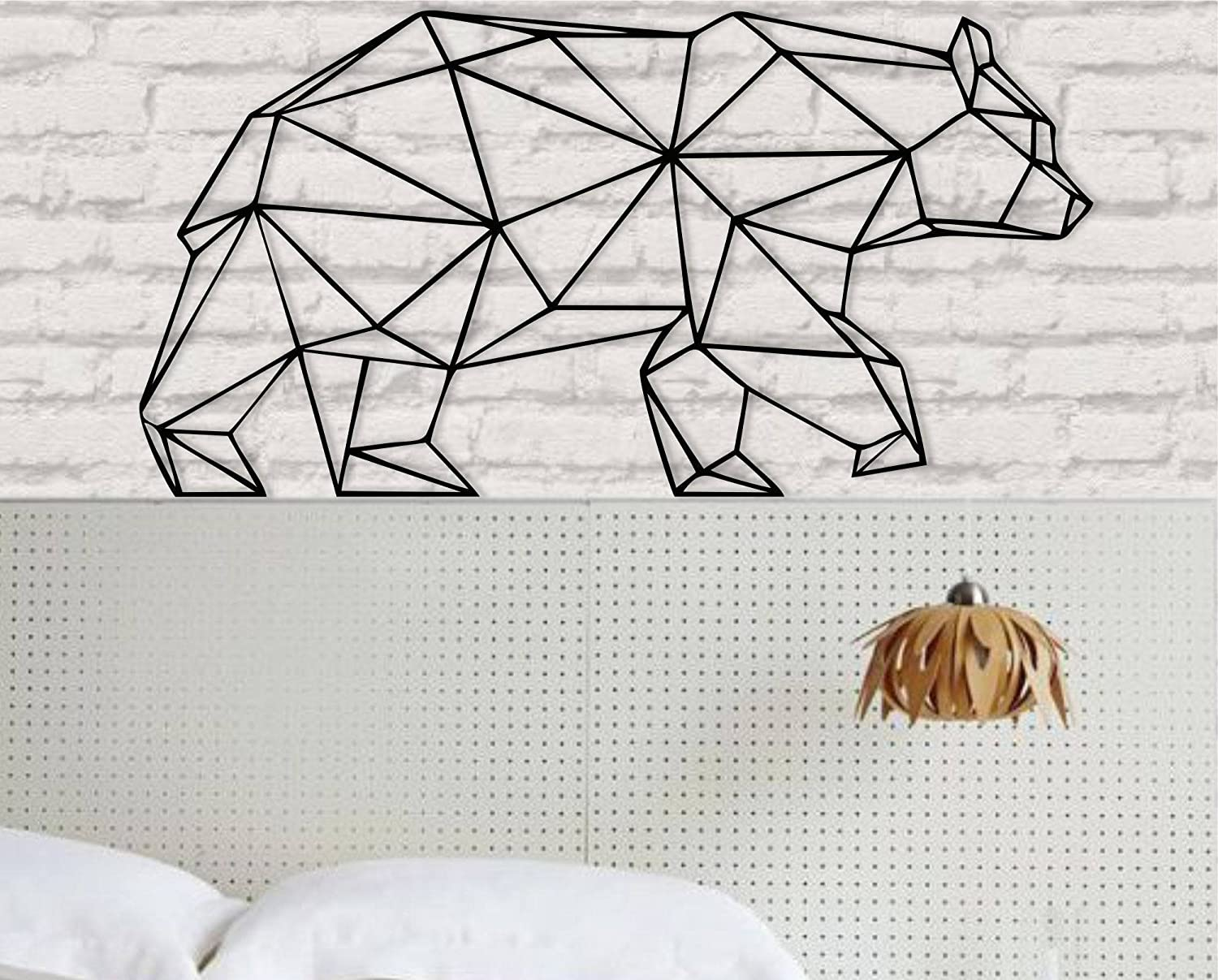 "Metal Wall Art - Geometric Bear -3D Wall Silhouette Metal Wall Decor Home Office Decoration Bedroom Living Room Decoration (24"" W x 12"" H/61x31cm)"