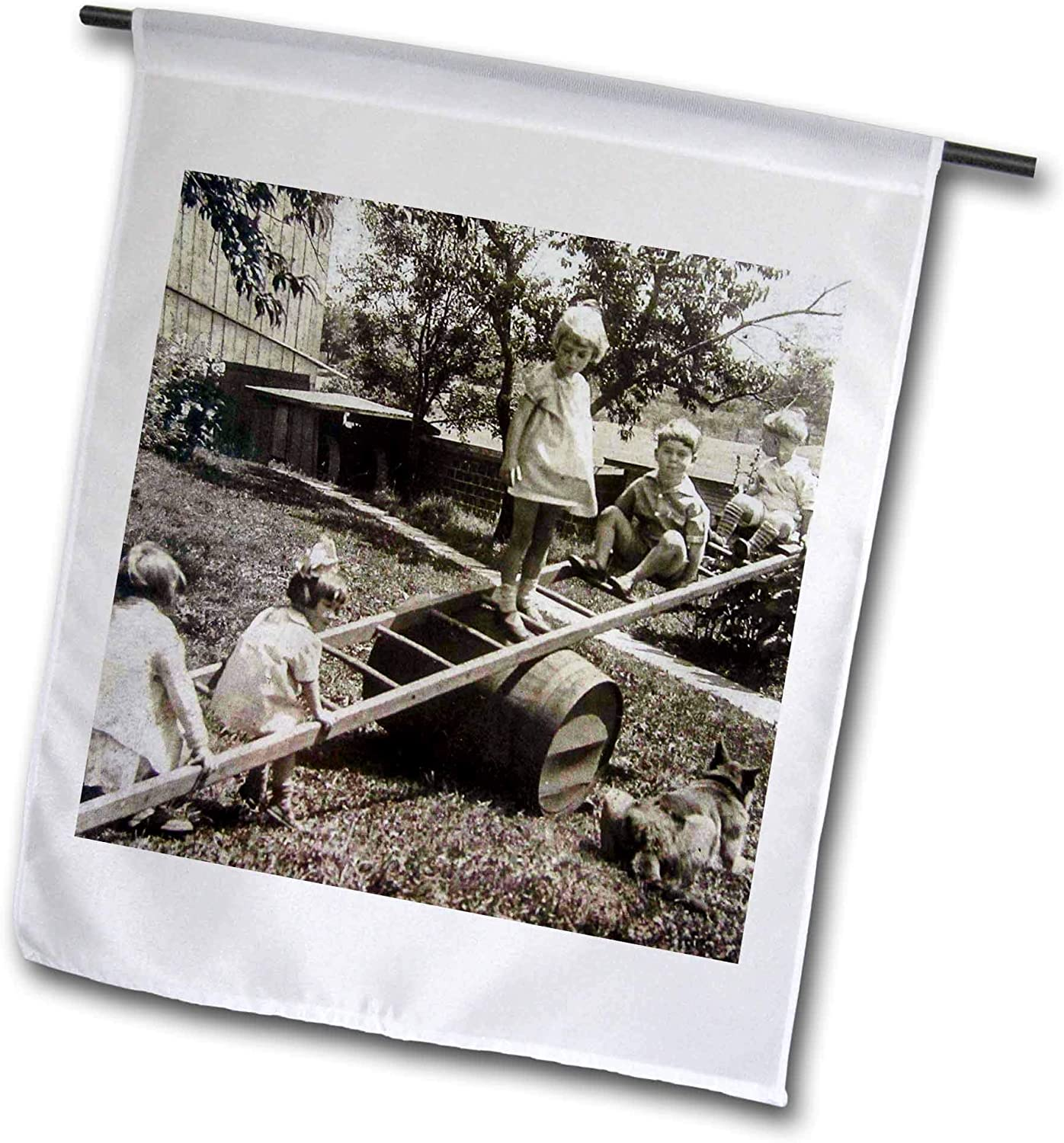 3dRose Scenes from The Past - Magic Lantern - Kids Playing on a Homemade Seesaw Vintage Photo - 12 x 18 inch Garden Flag (fl_301262_1)