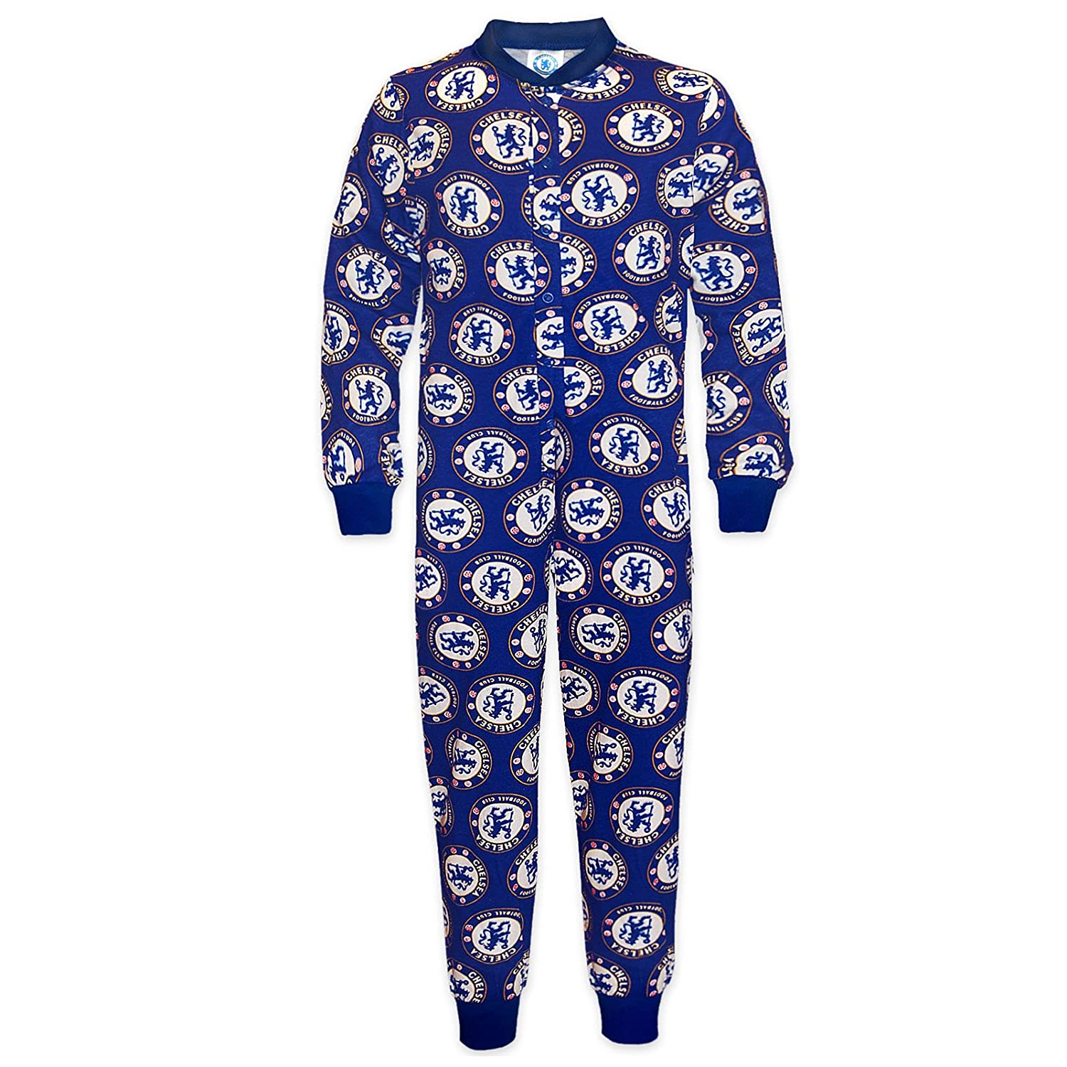 Chelsea FC Official Football Gift Boys Kids Pyjama All-In-One Blue