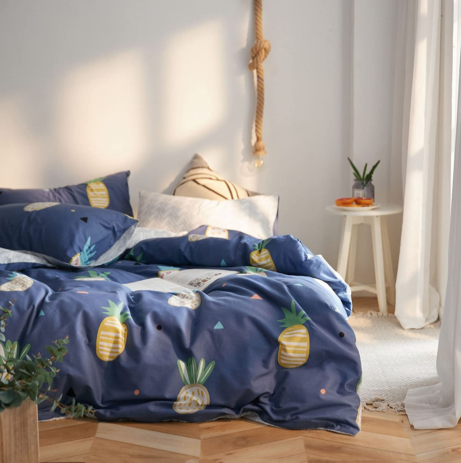Jane yre Queen Pineapple Duvet Cover Cotton,Reversible Pineapple Blue Duvet Cover,3 Pieces Lightweight Queen Bedding Sets,1 Queen Duvet Cover + 2 ...