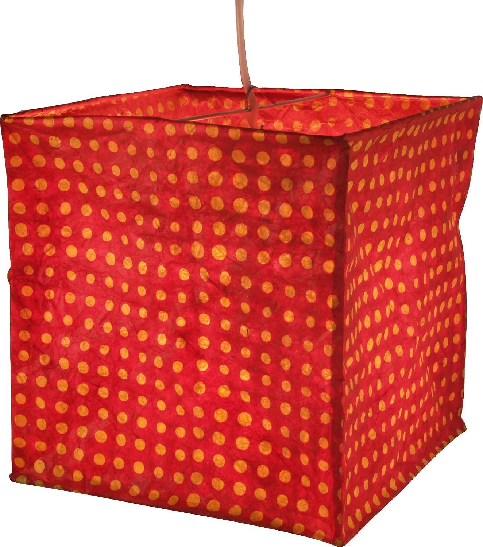 Guru-Shop Quadratische Papier Hängelampe, Papierlampenschirm Annapurna, Handgeschöpftes Papier - Weiß/Muster, Lokta-Papier, 25x24x24 cm, Papierlampenschirme Quadratisch