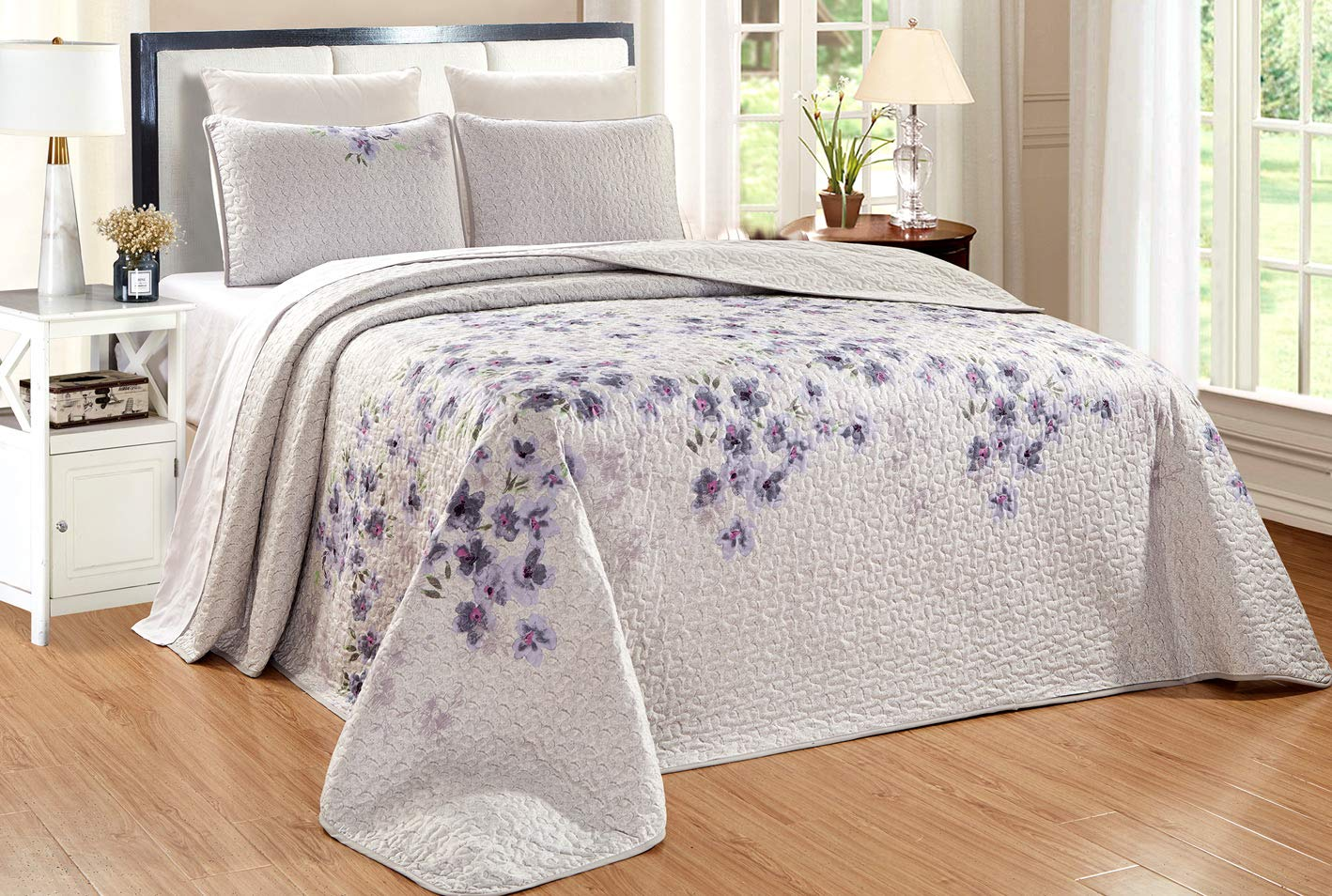 "3-Piece Fine Printed Oversize (115"" X 95"") Quilt Set Reversible Bedspread Coverlet King Size Bed Cover (Purple, Grey, Sage Green, Floral)"
