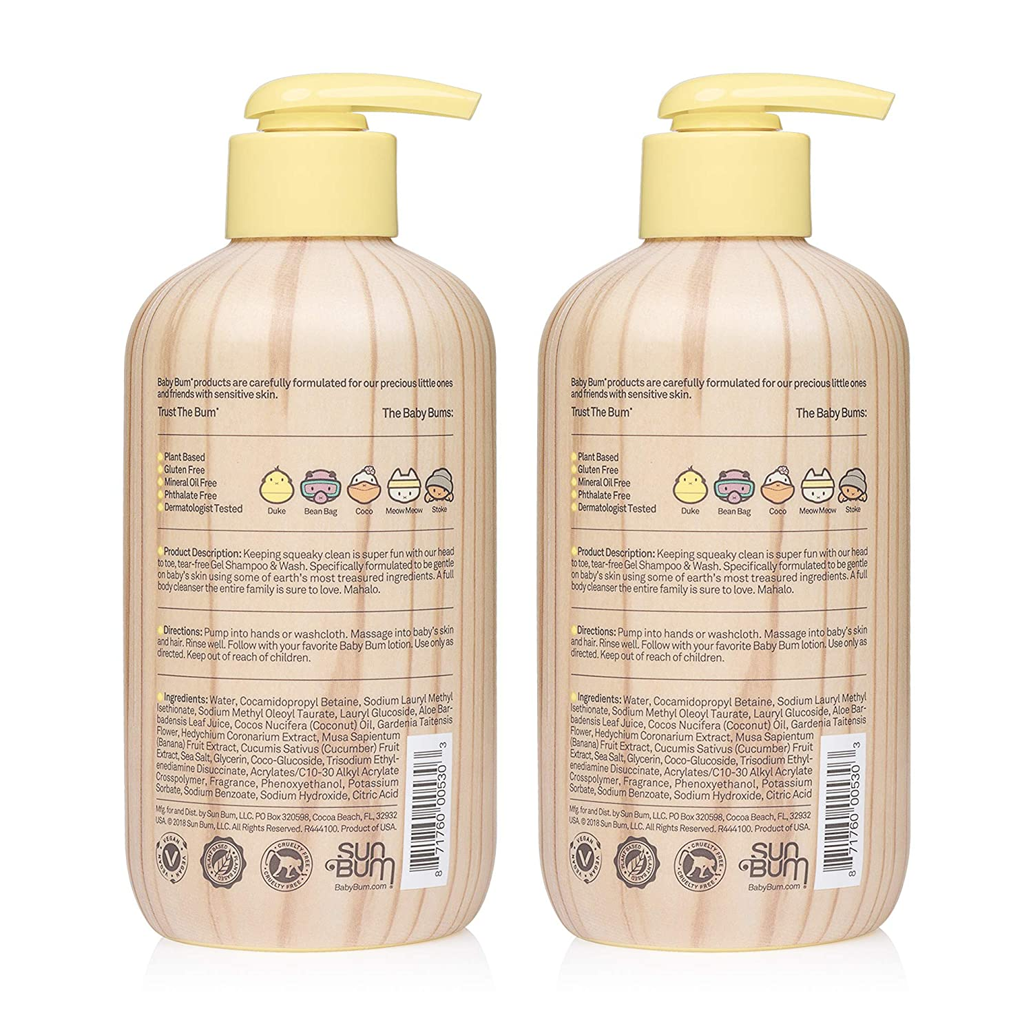 fd6e93d30bc Amazon.com : Baby Bum Shampoo & Body Wash Gel - Natural Fragrance - Tear  Free - Soap for Sensitive Skin with Coconut Oil and Aloe - 12 FL OZ : Baby