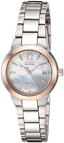 Citizen EW1676-52D - Reloj analógico de Cuarzo para Mujer, Correa de Acero Inoxidable Color Plateado