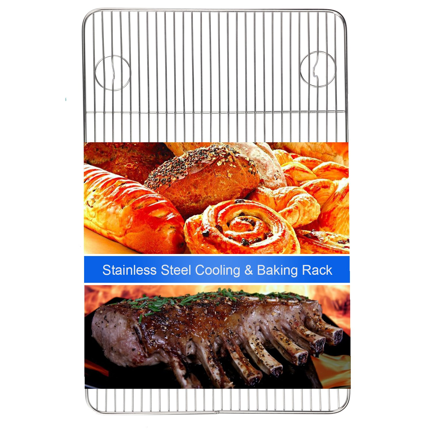 Heavy Duty Cooling Racks Onmexto Stainless Steel Wire Rack 11.42x17.52 Inches Safe Chief Quality for Roasting Baking and Grilling