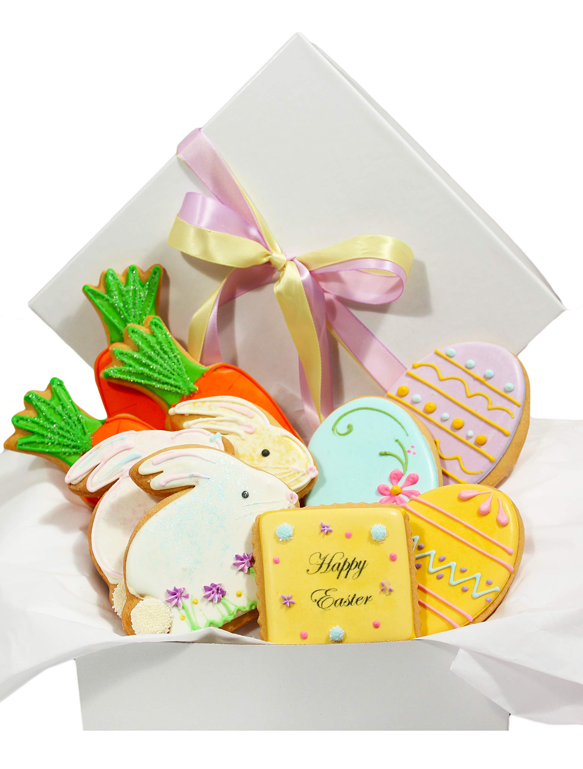 Easter Day Cookie Gift Basket 10 Pastel Decorated Cookies Bunny Eggs Carrots for Men Women Boys Girls Boyfriend Girlfriend Prime Delivery