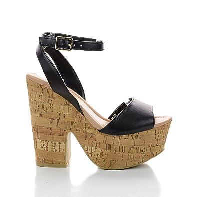 Amazon.com | Elfi10 Black Open Toe Ankle Strap Cork Platform ...