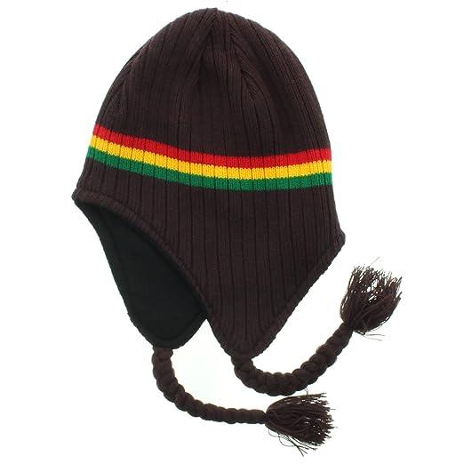 50c4d018d55 Amazon.com  JFH Group Rasta Hippie Jamaican Winter Ear Flap Hat (One Size)-Brown   Clothing