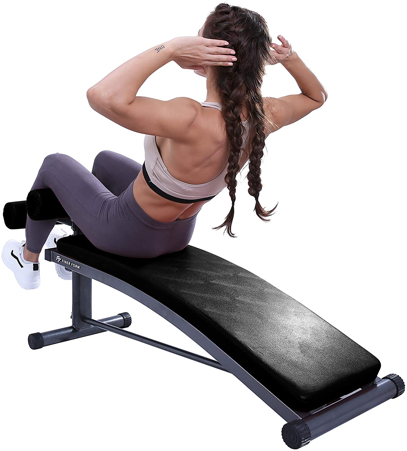 Finer Form Sit Up Bench with Reverse Crunch Handle for Ab Bench Exercises
