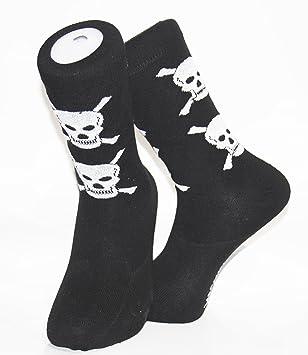 Negro calcetines con blanco diseño de calaveras y cruz Bones – Jolly Rogers. Ideal para