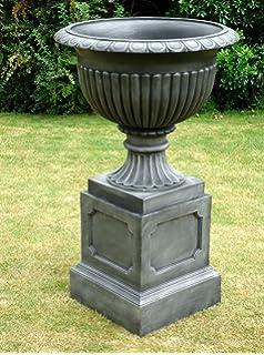 Large Garden Planter Regency Urn U0026 Plinth / Pewter Effect