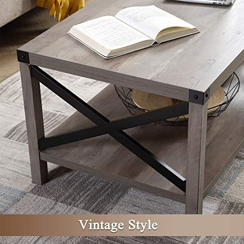 Lipo Rustic Coffee Table Modern Farmhouse Furniture Metal Wood Rectangle End Table